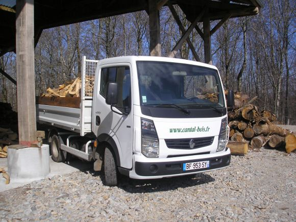 Camion de livraison de bois plein