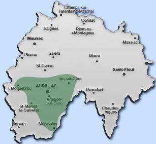 Carte du Cantal pour la livraison du bois de chauffage