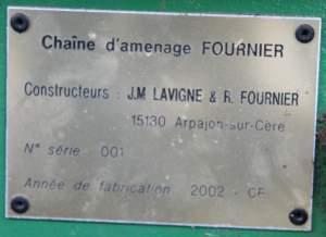 Plaque d'identification de la première chaîne d'amenage