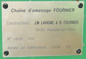 Plaque d'identification de la seconde chaîne d'amenage