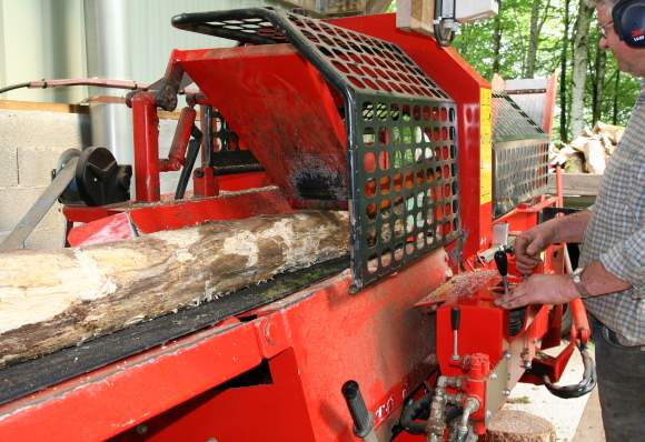 View of the second wood cutting machine during loading of the truck